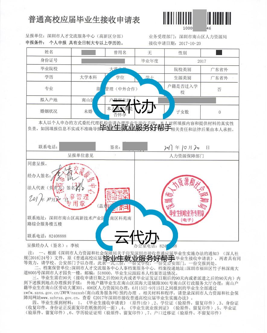 大连大学毕业生就业报到证改派到深圳服务案例